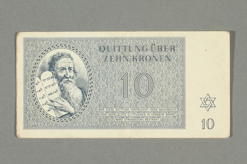 2016.552.22 front Theresienstadt ghetto-labor camp scrip, 10 kronen note, belonging to a German Jewish woman