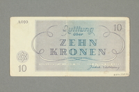 2016.552.22 back Theresienstadt ghetto-labor camp scrip, 10 kronen note, belonging to a German Jewish woman  Click to enlarge
