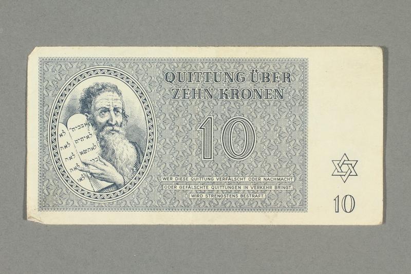2016.552.23 front Theresienstadt ghetto-labor camp scrip, 10 kronen note, belonging to a German Jewish woman