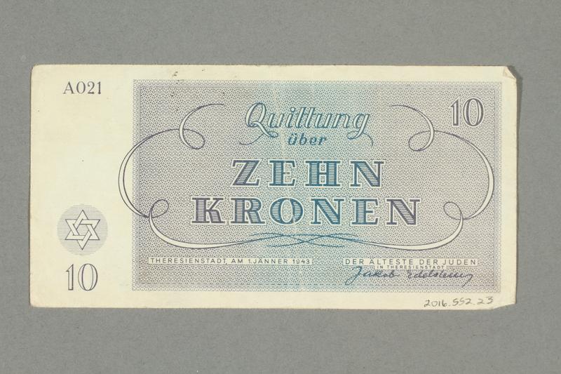 2016.552.23 back Theresienstadt ghetto-labor camp scrip, 10 kronen note, belonging to a German Jewish woman