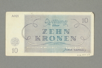 2016.552.23 back Theresienstadt ghetto-labor camp scrip, 10 kronen note, belonging to a German Jewish woman  Click to enlarge