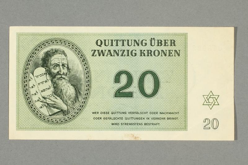 2016.552.24 front Theresienstadt ghetto-labor camp scrip, 20 kronen note, belonging to a German Jewish woman