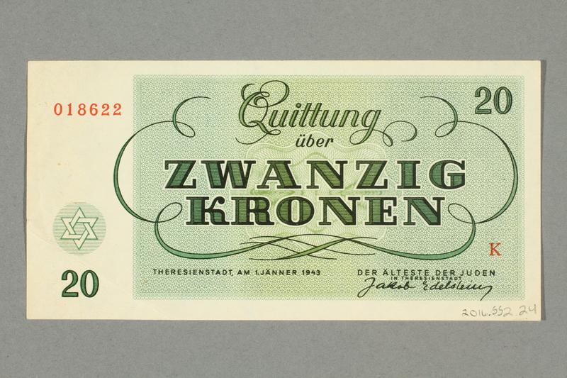 2016.552.24 back Theresienstadt ghetto-labor camp scrip, 20 kronen note, belonging to a German Jewish woman