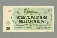 2016.552.24 back Theresienstadt ghetto-labor camp scrip, 20 kronen note, belonging to a German Jewish woman  Click to enlarge