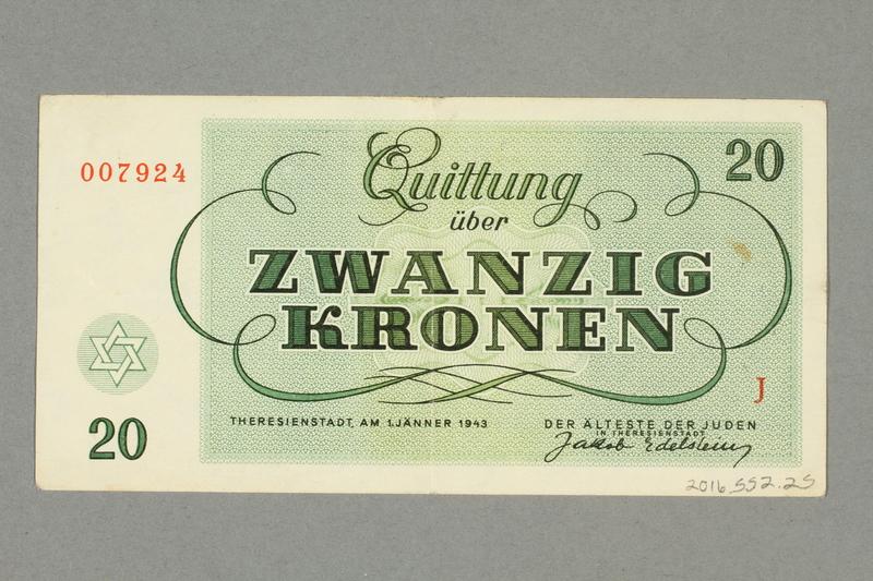 2016.552.25 back Theresienstadt ghetto-labor camp scrip, 20 kronen note, belonging to a German Jewish woman