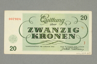 2016.552.25 back Theresienstadt ghetto-labor camp scrip, 20 kronen note, belonging to a German Jewish woman  Click to enlarge