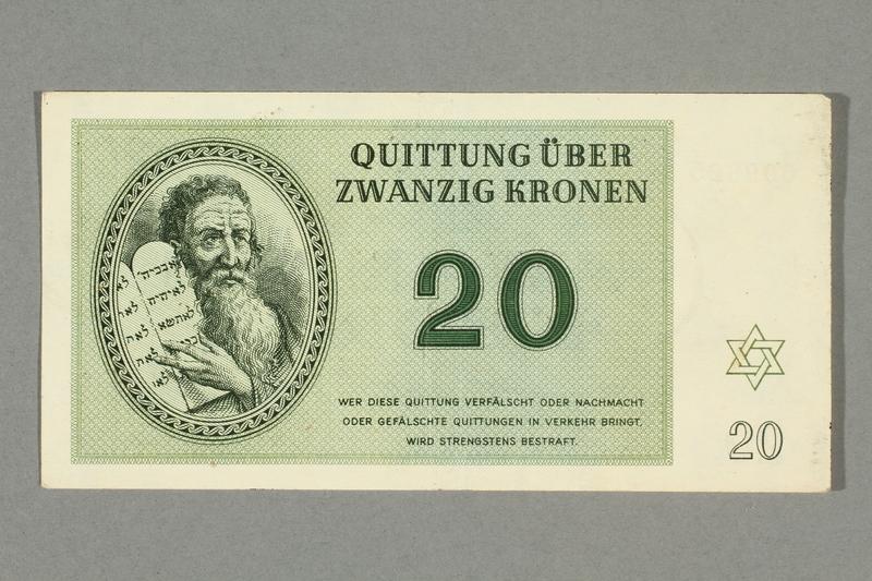 2016.552.26 front Theresienstadt ghetto-labor camp scrip, 20 kronen note, belonging to a German Jewish woman
