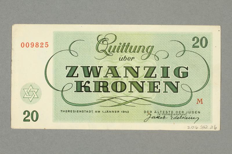 2016.552.26 back Theresienstadt ghetto-labor camp scrip, 20 kronen note, belonging to a German Jewish woman