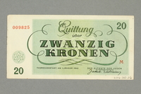 2016.552.26 back Theresienstadt ghetto-labor camp scrip, 20 kronen note, belonging to a German Jewish woman  Click to enlarge