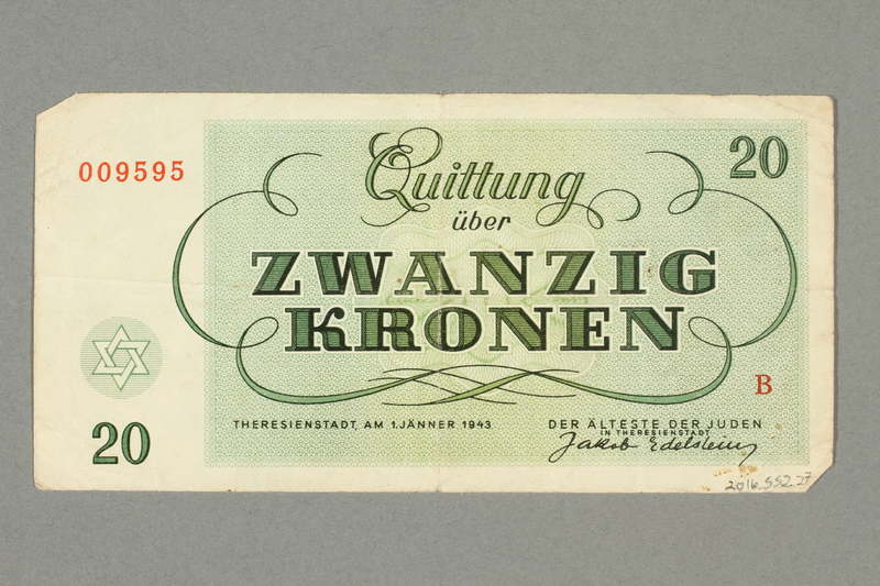2016.552.27 back Theresienstadt ghetto-labor camp scrip, 20 kronen note, belonging to a German Jewish woman