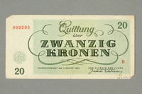 2016.552.27 back Theresienstadt ghetto-labor camp scrip, 20 kronen note, belonging to a German Jewish woman  Click to enlarge
