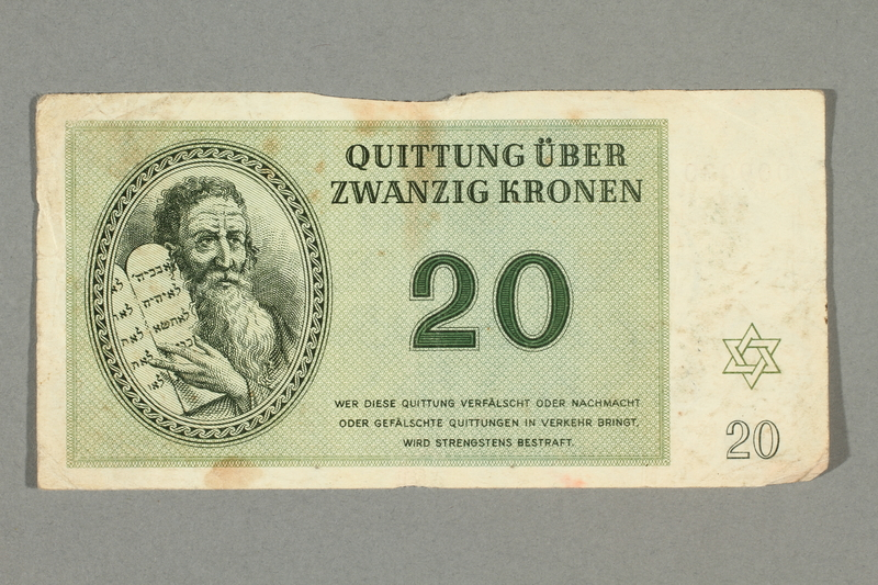 2016.552.28 front Theresienstadt ghetto-labor camp scrip, 20 kronen note, belonging to a German Jewish woman