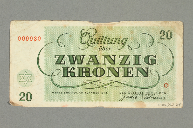 2016.552.28 back Theresienstadt ghetto-labor camp scrip, 20 kronen note, belonging to a German Jewish woman