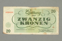 2016.552.28 back Theresienstadt ghetto-labor camp scrip, 20 kronen note, belonging to a German Jewish woman  Click to enlarge