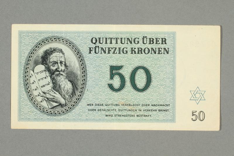 2016.552.30 front Theresienstadt ghetto-labor camp scrip, 50 kronen note, belonging to a German Jewish woman