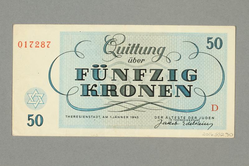 2016.552.30 back Theresienstadt ghetto-labor camp scrip, 50 kronen note, belonging to a German Jewish woman