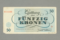 2016.552.31 back Theresienstadt ghetto-labor camp scrip, 50 kronen note, belonging to a German Jewish woman  Click to enlarge