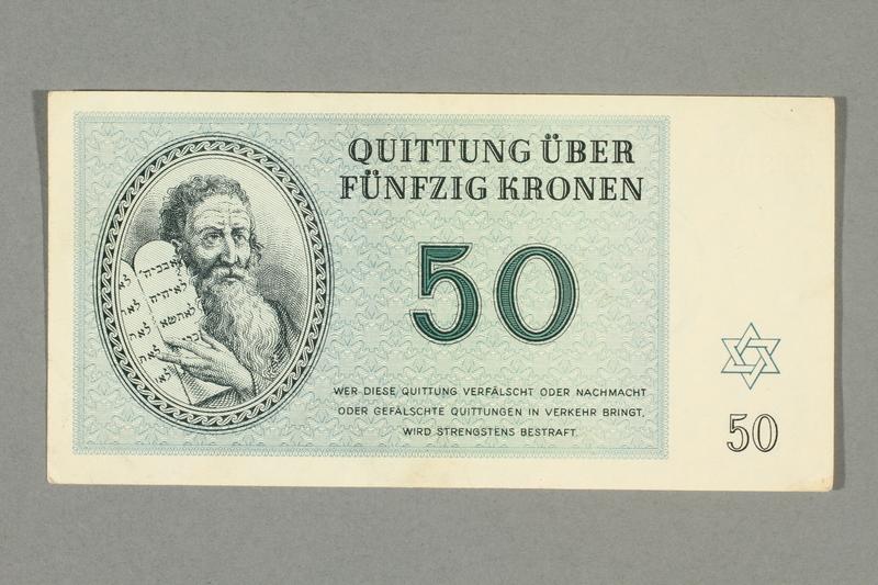 2016.552.32 front Theresienstadt ghetto-labor camp scrip, 50 kronen note, belonging to a German Jewish woman