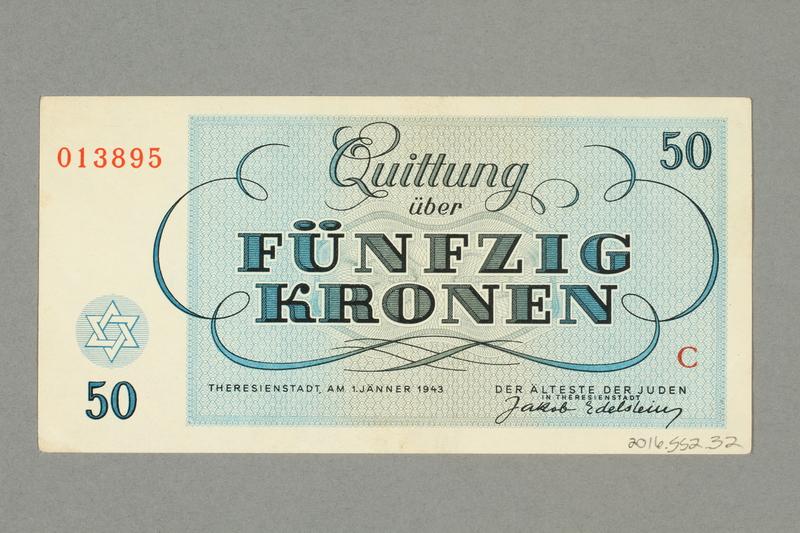 2016.552.32 back Theresienstadt ghetto-labor camp scrip, 50 kronen note, belonging to a German Jewish woman