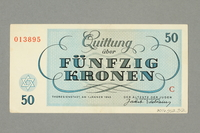 2016.552.32 back Theresienstadt ghetto-labor camp scrip, 50 kronen note, belonging to a German Jewish woman  Click to enlarge