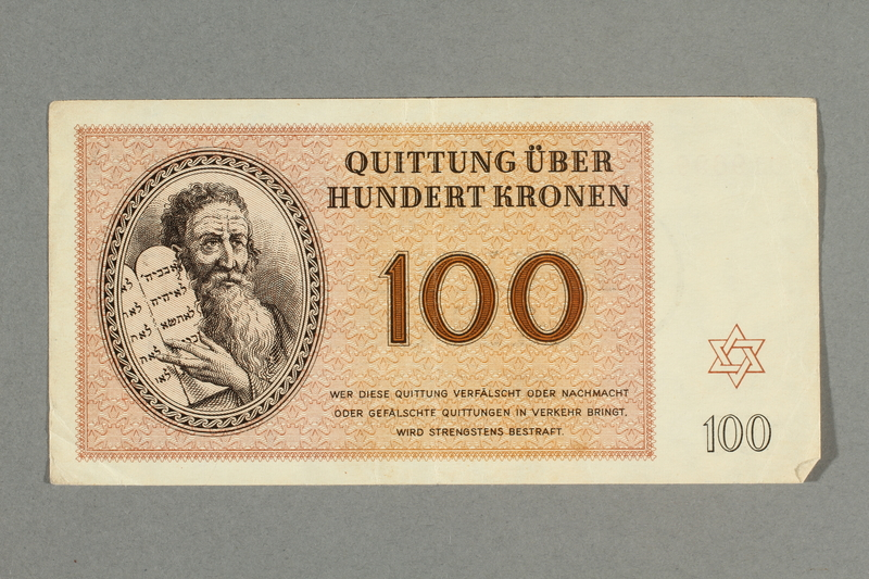 2016.552.33 front Theresienstadt ghetto-labor camp scrip, 100 kronen note, belonging to a German Jewish woman