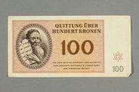 2016.552.33 front Theresienstadt ghetto-labor camp scrip, 100 kronen note, belonging to a German Jewish woman  Click to enlarge