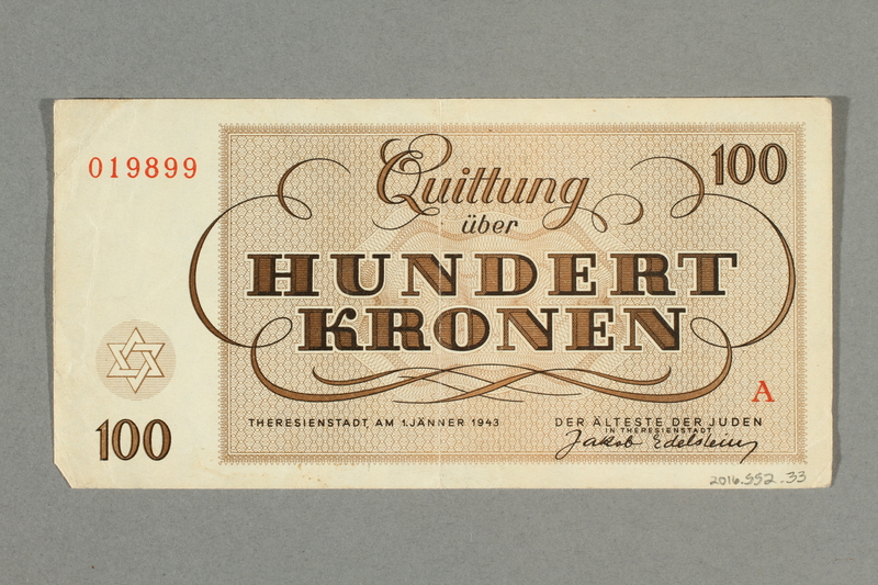 2016.552.33 back Theresienstadt ghetto-labor camp scrip, 100 kronen note, belonging to a German Jewish woman