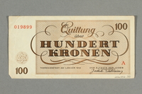 2016.552.33 back Theresienstadt ghetto-labor camp scrip, 100 kronen note, belonging to a German Jewish woman  Click to enlarge