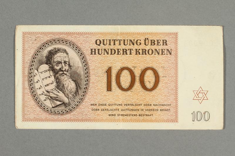2016.552.34 front Theresienstadt ghetto-labor camp scrip, 100 kronen note, belonging to a German Jewish woman