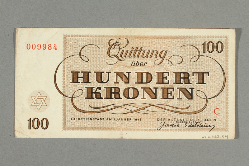 2016.552.34 back Theresienstadt ghetto-labor camp scrip, 100 kronen note, belonging to a German Jewish woman