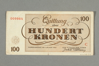 2016.552.34 back Theresienstadt ghetto-labor camp scrip, 100 kronen note, belonging to a German Jewish woman  Click to enlarge