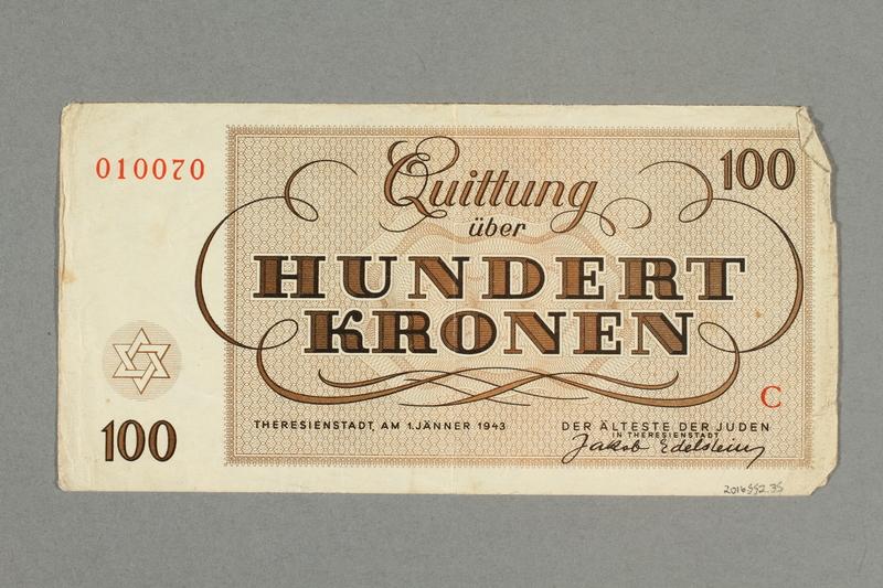 2016.552.35 back Theresienstadt ghetto-labor camp scrip, 100 kronen note, belonging to a German Jewish woman