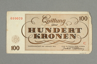 2016.552.35 back Theresienstadt ghetto-labor camp scrip, 100 kronen note, belonging to a German Jewish woman  Click to enlarge