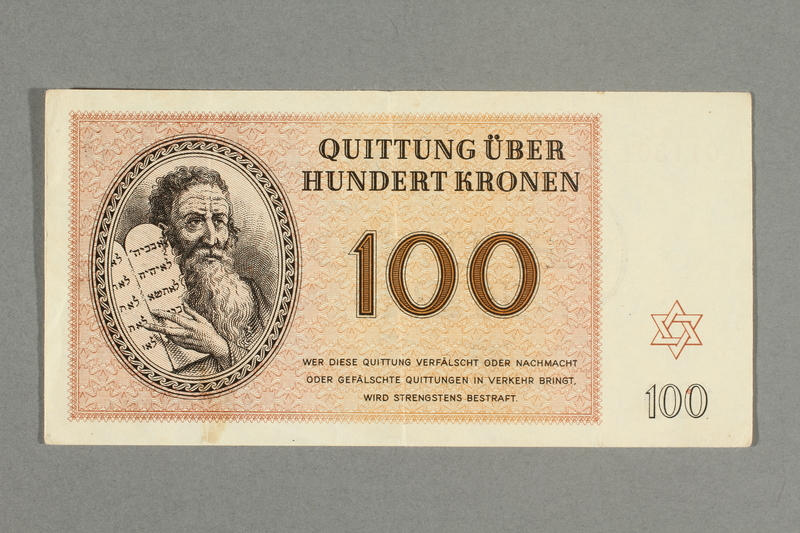 2016.552.36 front Theresienstadt ghetto-labor camp scrip, 100 kronen note, belonging to a German Jewish woman