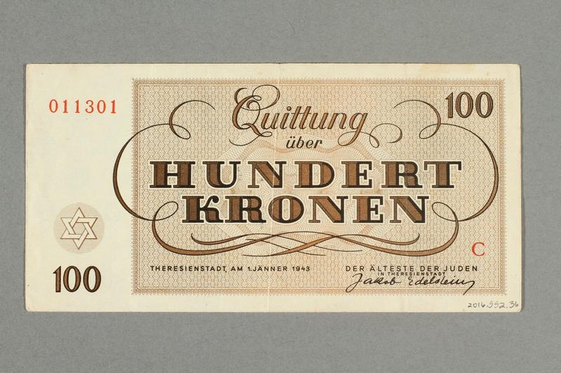 2016.552.36 back Theresienstadt ghetto-labor camp scrip, 100 kronen note, belonging to a German Jewish woman