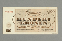 2016.552.36 back Theresienstadt ghetto-labor camp scrip, 100 kronen note, belonging to a German Jewish woman  Click to enlarge