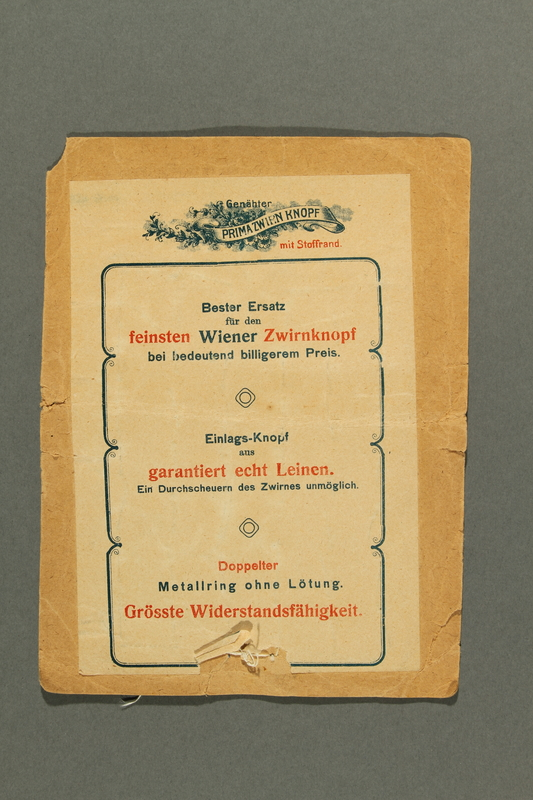 2018.258.8 a back Card with 46 Dorset-style buttons owned by a Jewish Austrian refugee