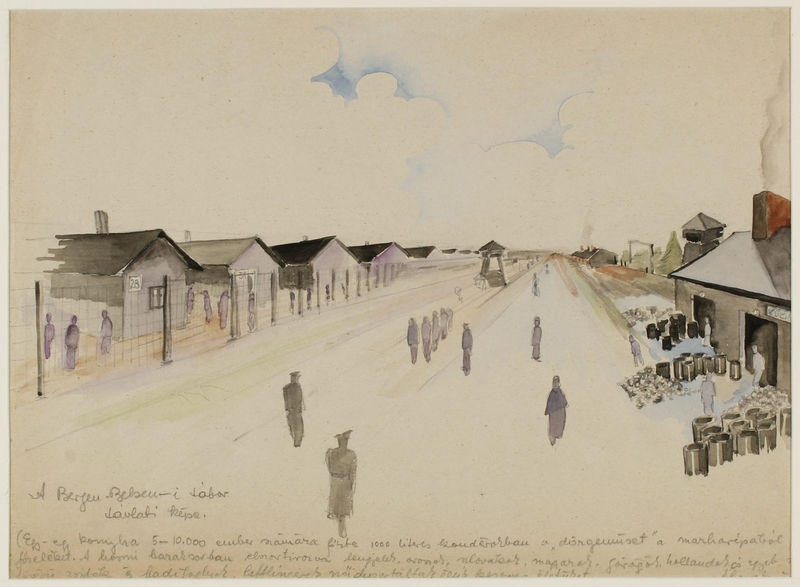 CM_1992.193.39_001 front Drawing by Ervin Abadi created while at Bergen Belsen displaced person's camp