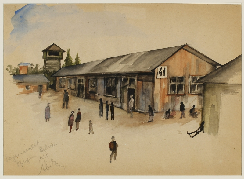CM_1992.193.40_001 front Watercolor painting by Ervin Abadi created while at Bergen Belsen displaced person's camp