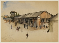 CM_1992.193.40_001 front Watercolor painting by Ervin Abadi created while at Bergen Belsen displaced person's camp  Click to enlarge