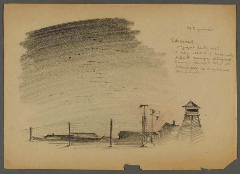 CM_1992.193.48_001 front Drawing by Ervin Abadi created while at Bergen Belsen displaced person's camp