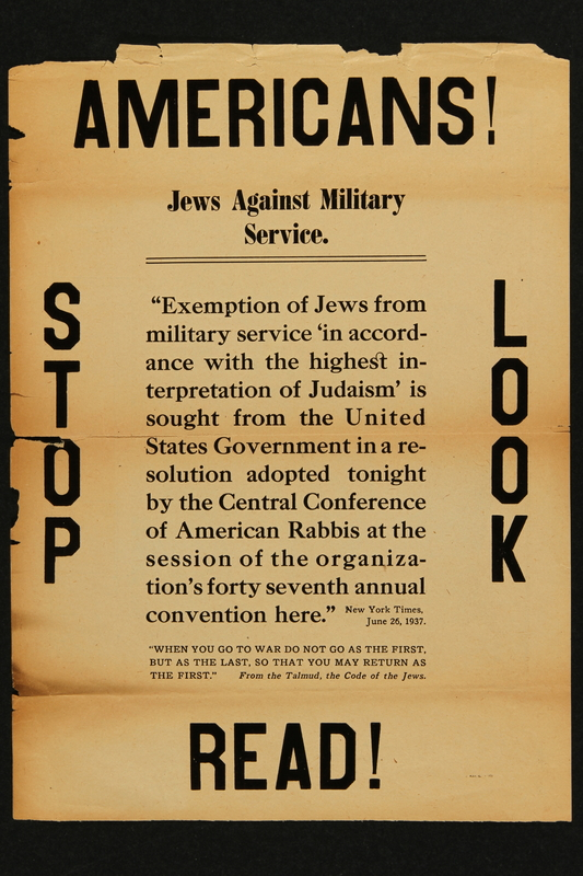 2018.349.2 front Antisemitic propaganda handbill warning Americans that Jews are against serving in the military