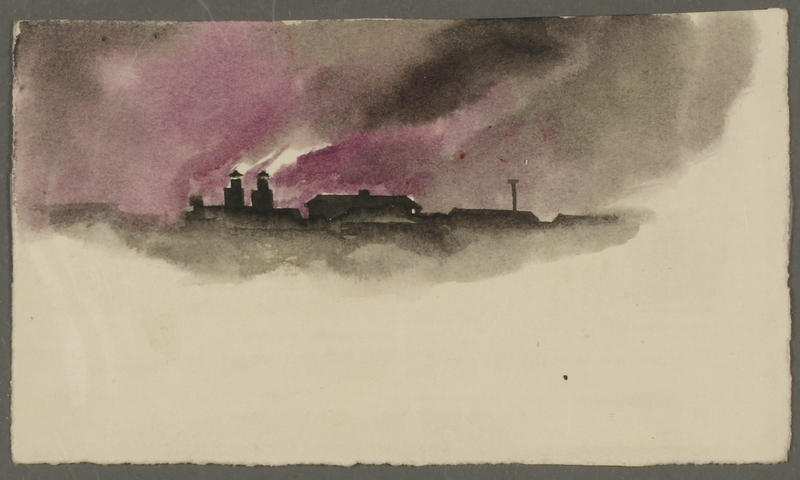 CM_1992.193.52_001 front Watercolor painting by Ervin Abadi created while at Bergen Belsen displaced person's camp