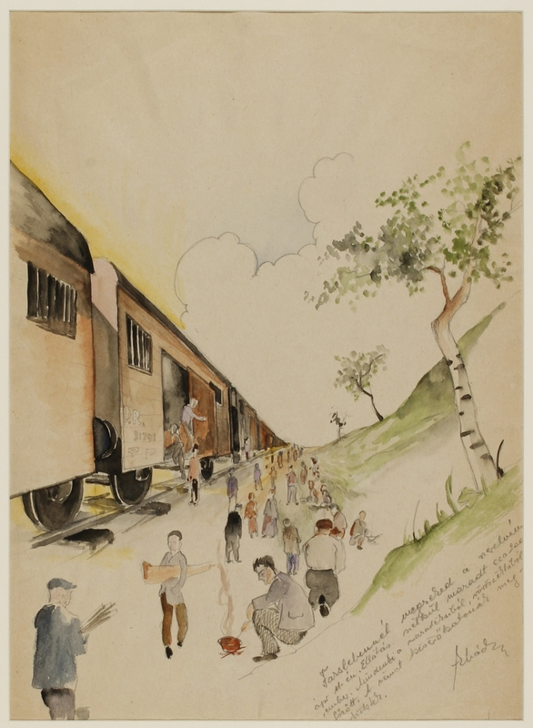 CM_1992.193.54_001 front Drawing by Ervin Abadi created while at Bergen Belsen displaced person's camp
