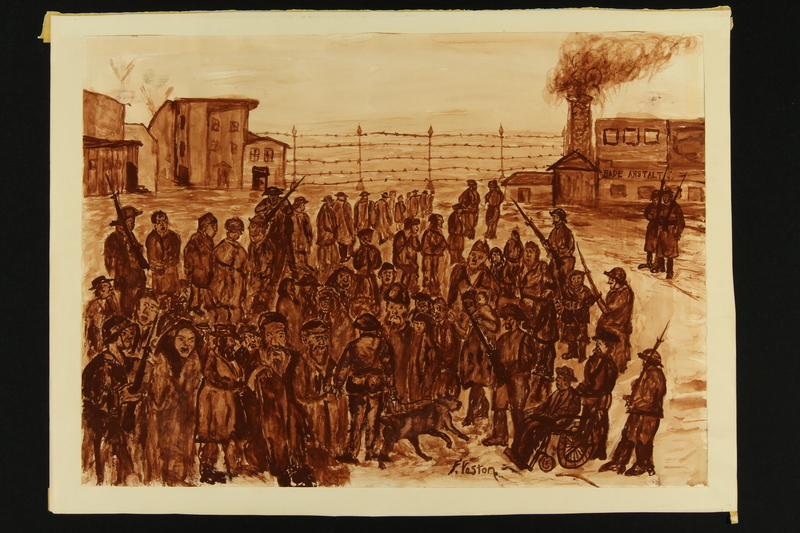 2018.377.1 front Watercolor of Auschwitz painted by a Polish Jewish artist after the Holocaust