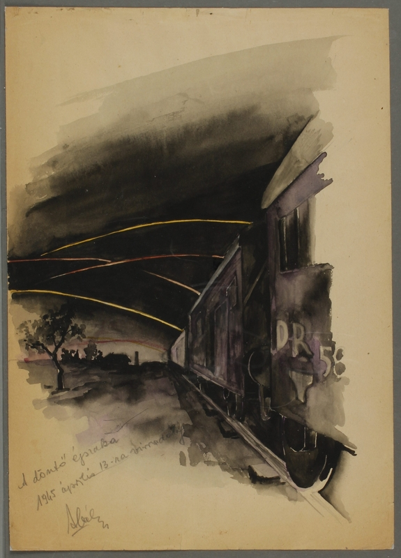 CM_1992.193.55_001 front Drawing by Ervin Abadi created while at Bergen Belsen displaced person's camp