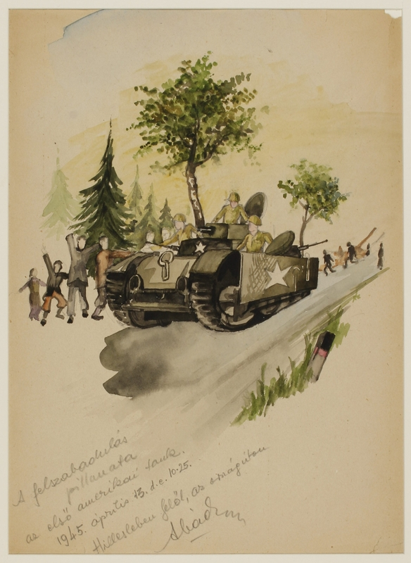 CM_1992.193.56_001 front Watercolor painting by Ervin Abadi created while at Bergen Belsen displaced person's camp