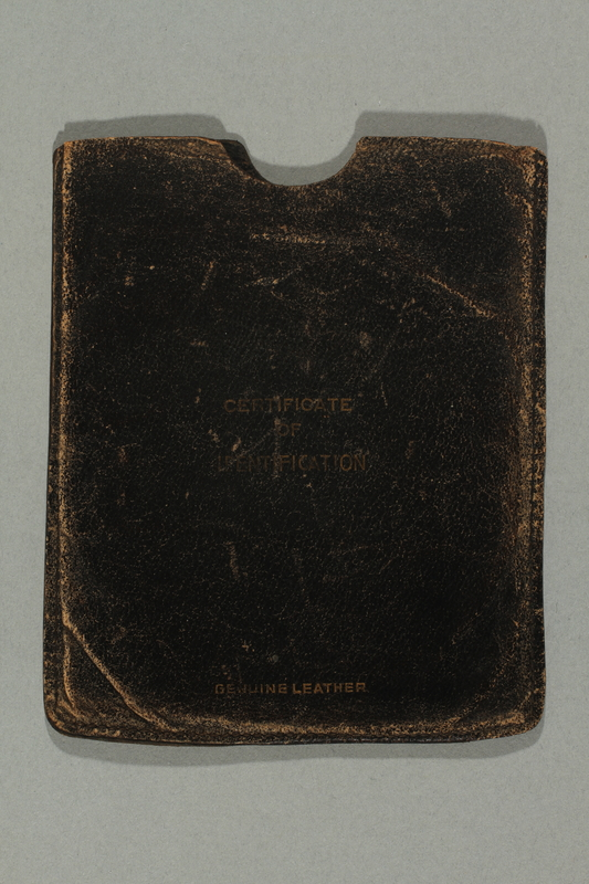 2015.533.2 side a Identification case used by a German Jewish boy while on a refugee transport