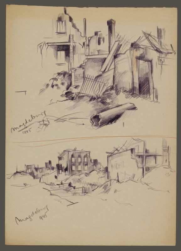 CM_1992.193.59_001 front Drawing by Ervin Abadi created while at Bergen Belsen displaced person's camp