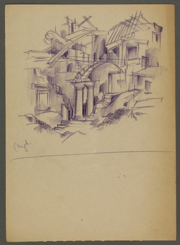 CM_1992.193.60_001 front Drawing by Ervin Abadi created while at Bergen Belsen displaced person's camp